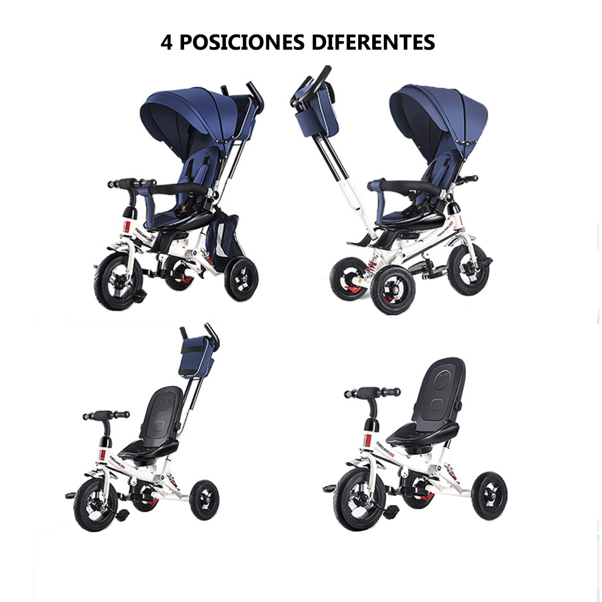 miniatura 15 - Triciclo-con-Capota-para-Ninos-Transformable-Pacifier