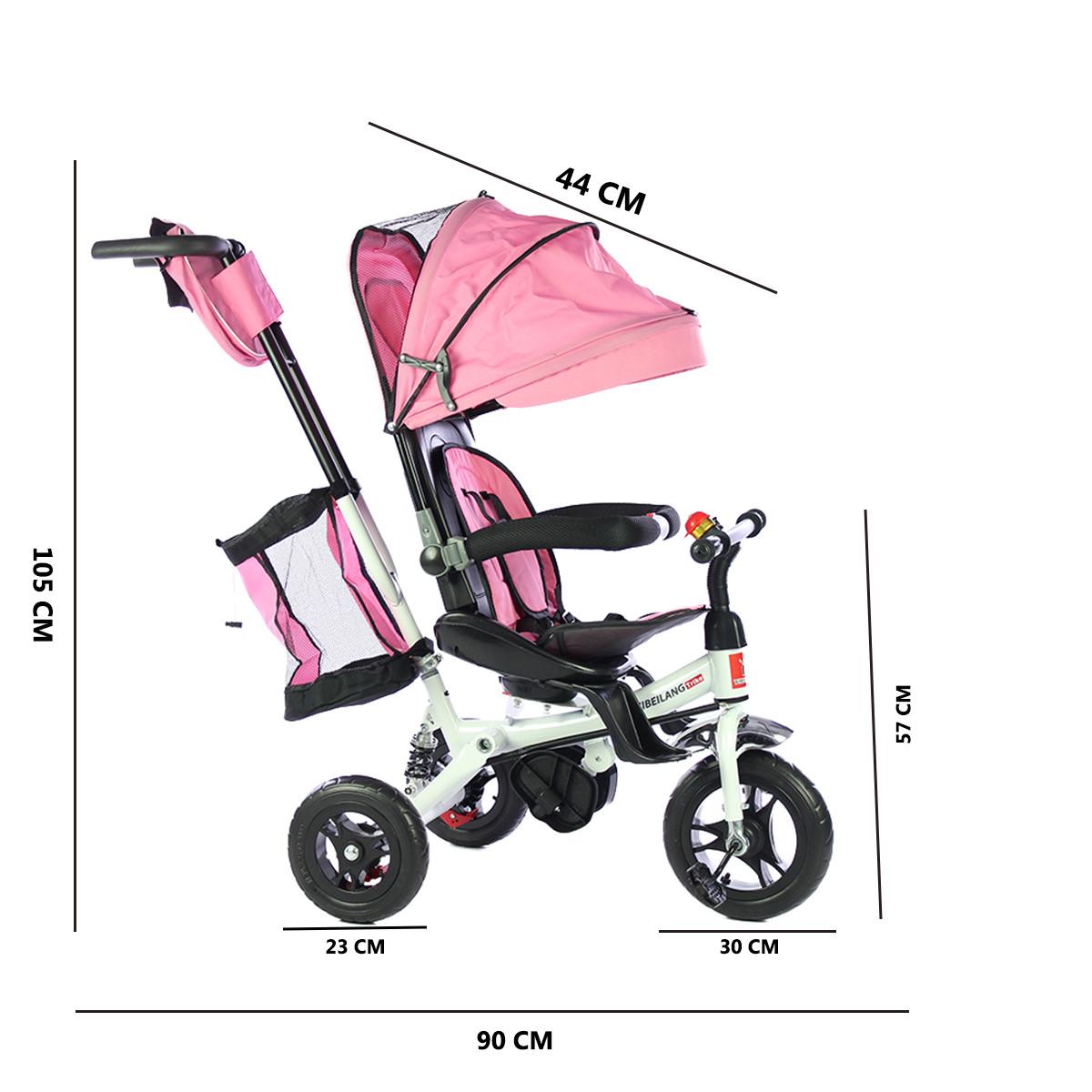 miniatura 16 - Triciclo-con-Capota-para-Ninos-Transformable-Pacifier