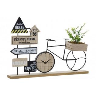 Reloj Sobremesa MDF 43.5x9x28 Bicicleta natural