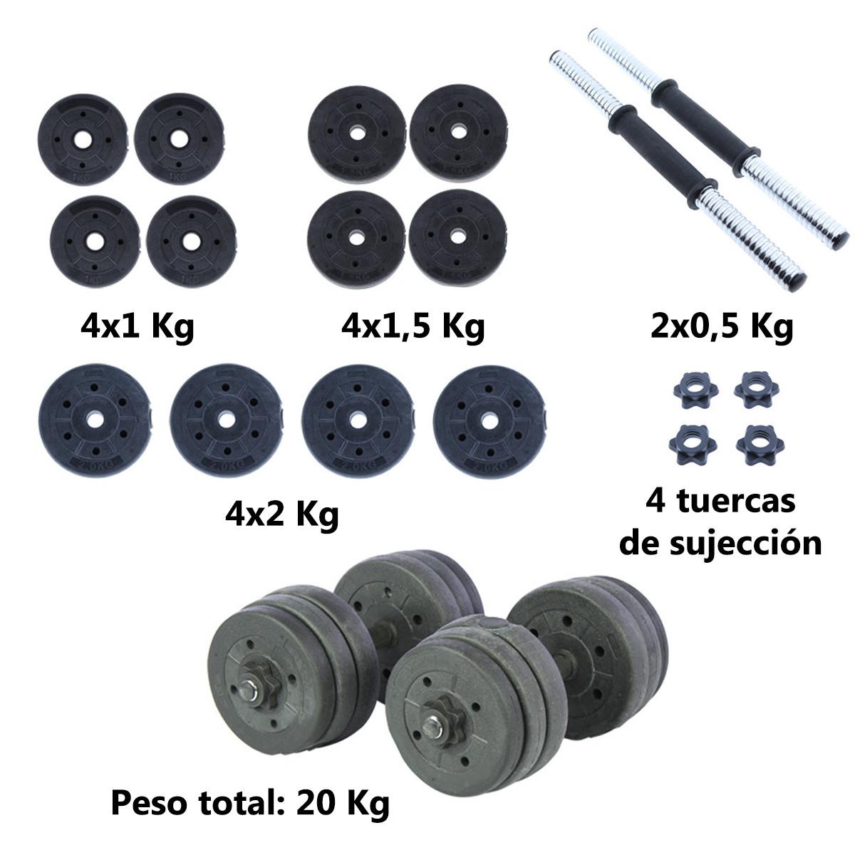Juego-de-mancuernas-ajustables-con-discos-varios-pesos-Risc miniatura 12