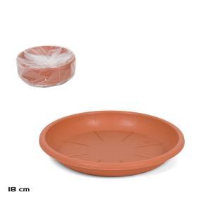 Plato plast macetero - col terracota 18c