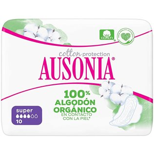Ausonia Cotton Protection Super (tamaño 2) Compresas Con Alas, 10