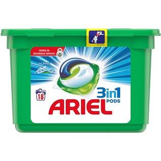 Ariel 3en1 Pods Cápsulas, Alpine, 18Lavados