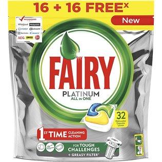 Fairy Platinum Limón Cápsulas De Lavavajillas Pack De 34Unidades