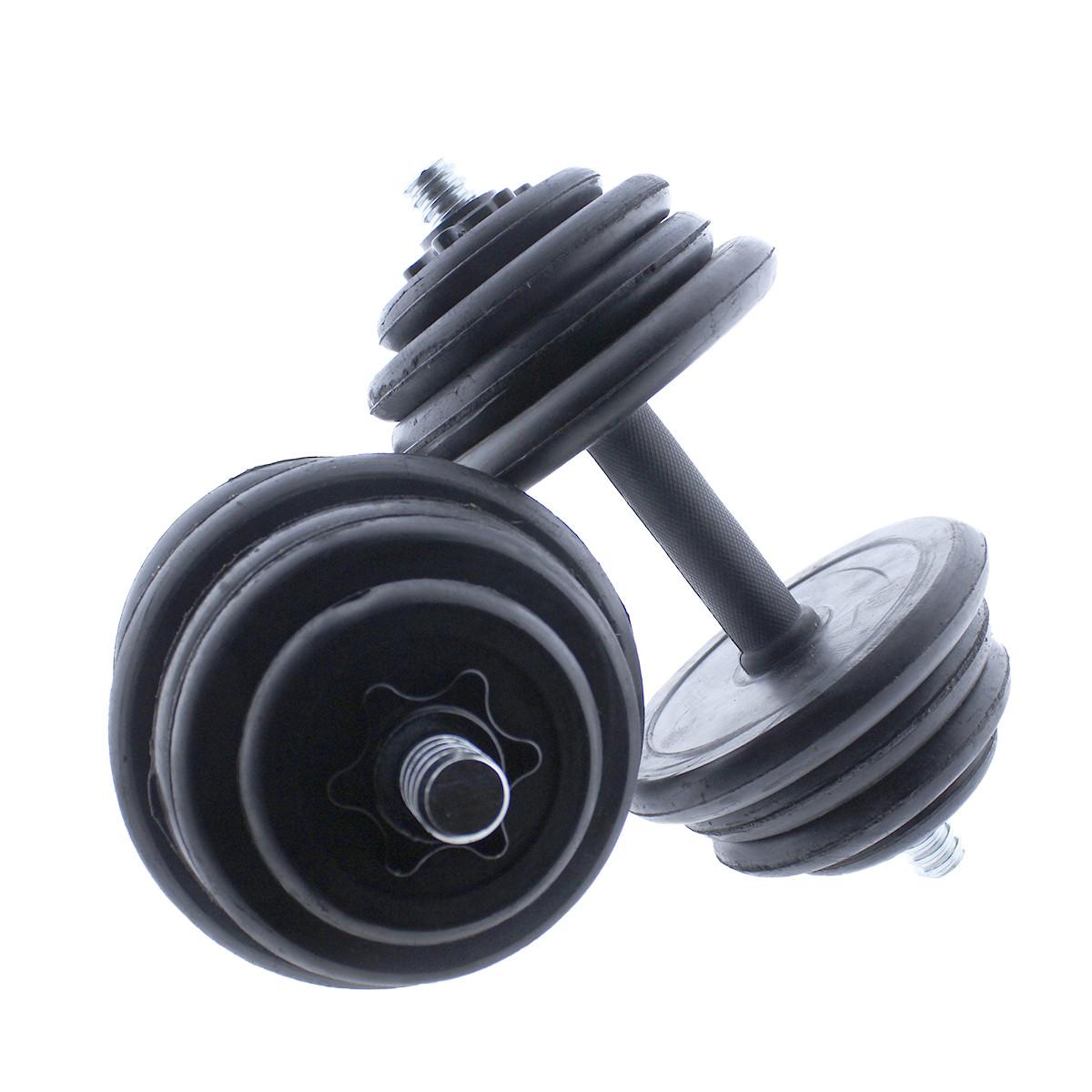Set-de-mancuernas-ajustables-Negras-con-discos-de-Goma-10kg-12kg-15kg-20-k miniatura 19