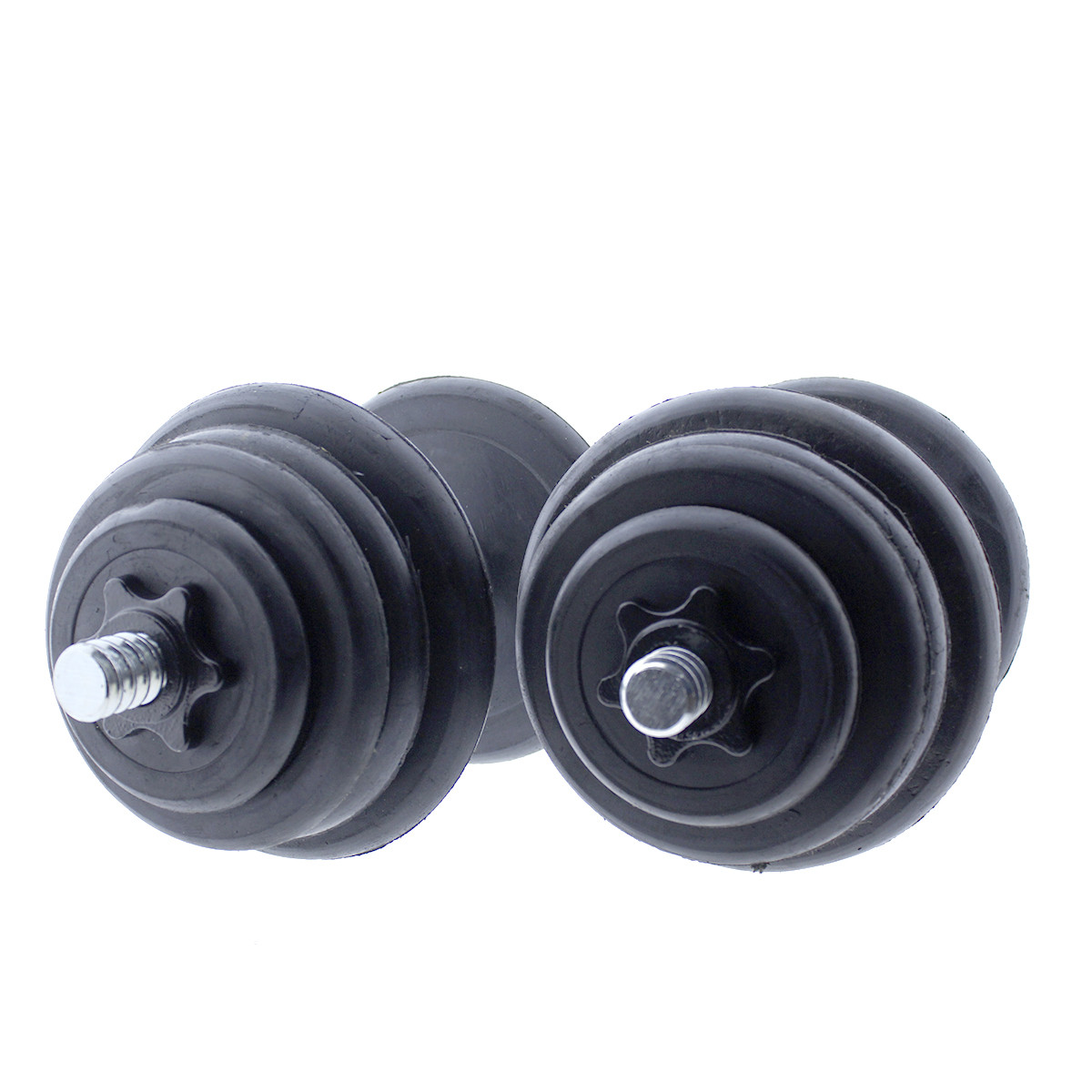 Set-de-mancuernas-ajustables-Negras-con-discos-de-Goma-10kg-12kg-15kg-20-k miniatura 21