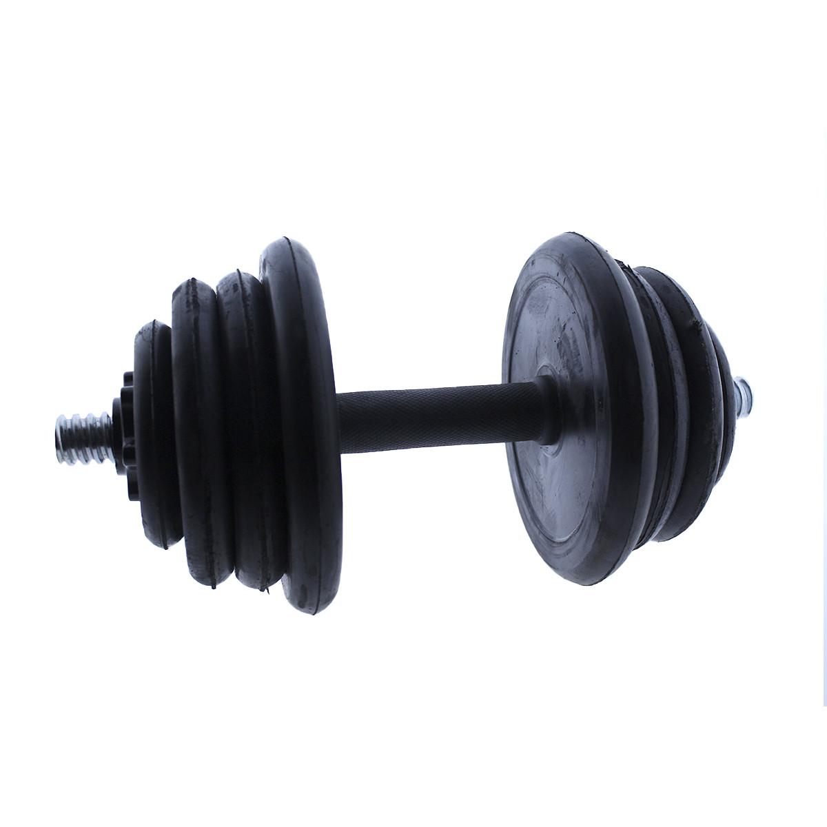 Set-de-mancuernas-ajustables-Negras-con-discos-de-Goma-10kg-12kg-15kg-20-k miniatura 23