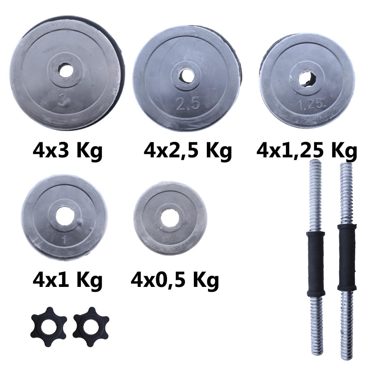 Set-de-mancuernas-ajustables-Negras-con-discos-de-Goma-10kg-12kg-15kg-20-k miniatura 27