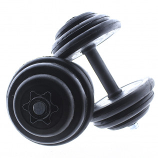 Set de mancuernas ajustables Negras con discos de Goma 10kg - 12kg - 15kg - 20 kg