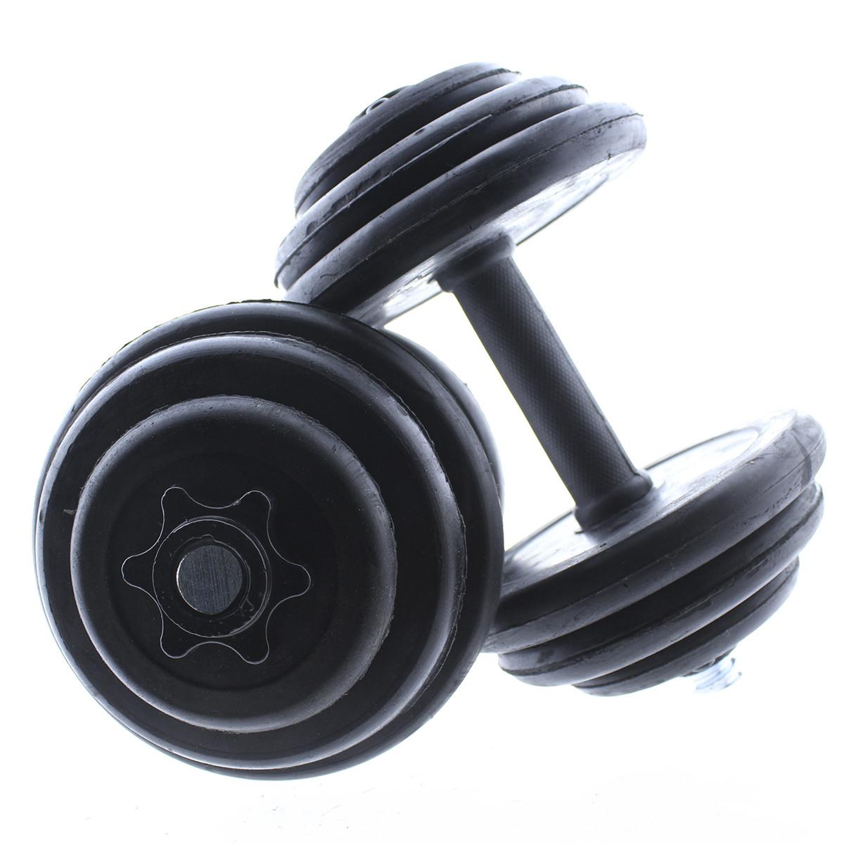Set-de-mancuernas-ajustables-Negras-con-discos-de-Goma-10kg-12kg-15kg-20-k miniatura 13