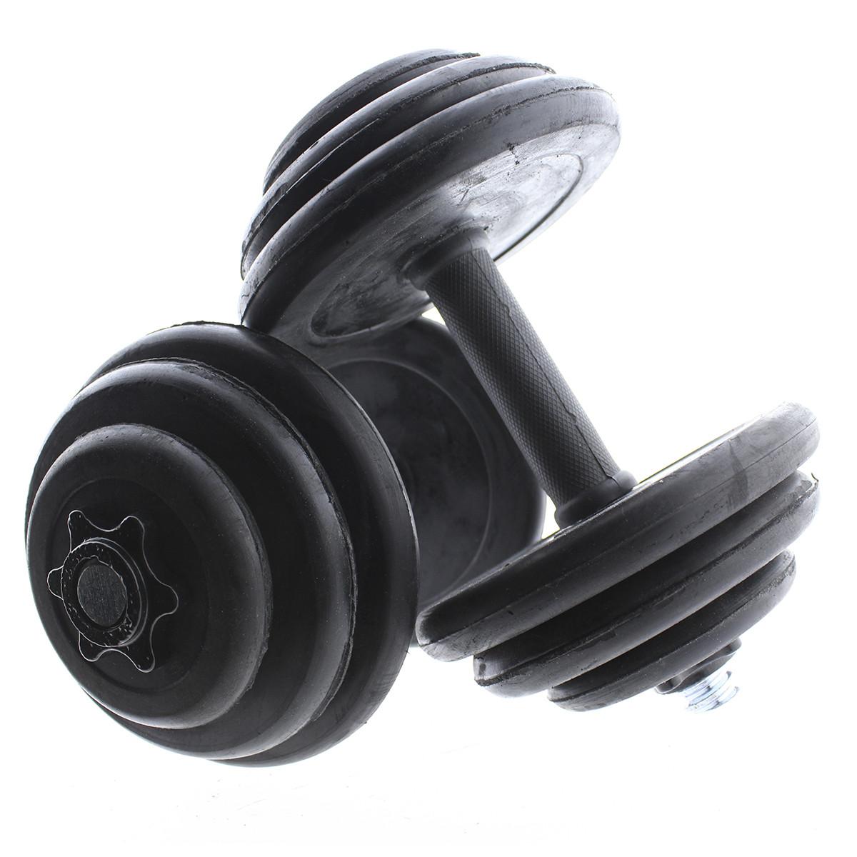 Set-de-mancuernas-ajustables-Negras-con-discos-de-Goma-10kg-12kg-15kg-20-k miniatura 14