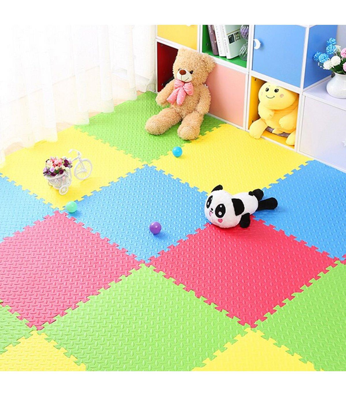 Alfombra Puzzle para bebés Goma EVA 4 Losetas de 60x60cm 4 Colores
