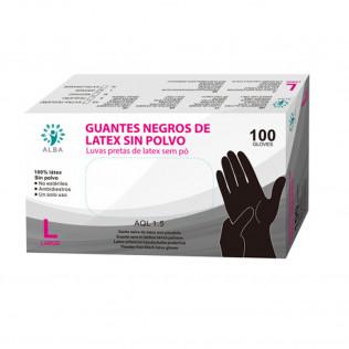 Guantes De Látex Sin Polvo Negro | Caja De 100 Unidades