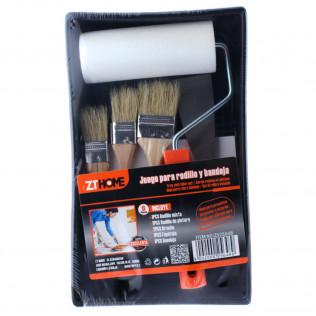 Bandeja pintor con rodillo, espátula y brochas