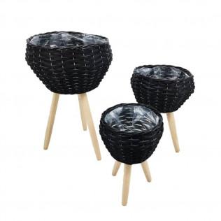 Juego 3 maceteros patas madera conico negro
