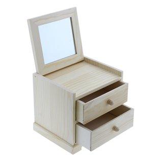 Caja de madera con 2 cajones y espejo