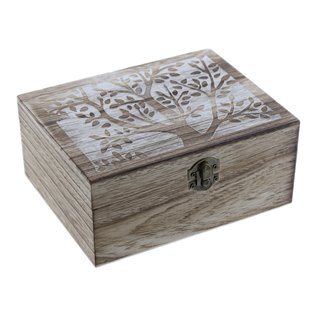 Caja de madera tapa decorativa con 2 cajas internas