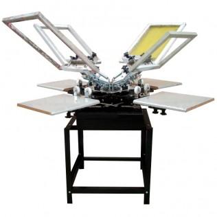 Máquina serigrafía pulpo 4 brazos 4 estaciones