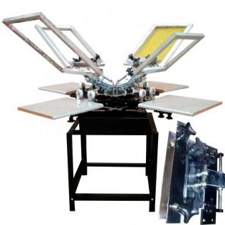Máquina serigrafía pulpo 4 brazos 4 estaciones microregistro