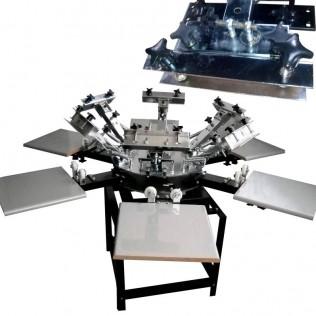 Máquina serigrafía pulpo 6 brazos 6 estaciones microregistro