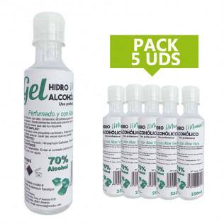 Pack Gel hidroalcohólico higienizante de manos 250 ml | 5 uds