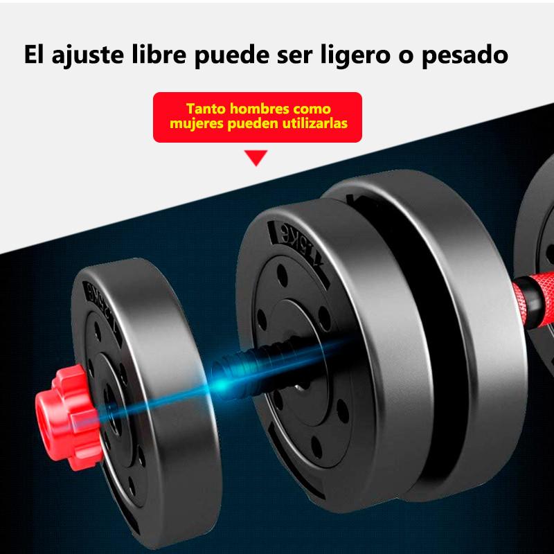 miniatura 24 - Juego de Mancuernas 2 en 1 con Barra Ajustable de 10 a 50 kg