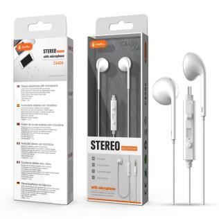 Auriculares con Microfono Ecotu, con Boton Multifuciones y Control de Volumen, cable 1.2M ,Blanco