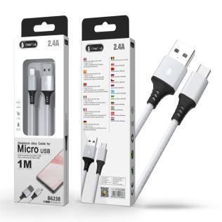 Cable de datos Aluminio S.Basic Giova para Micro USB, 2.4A, 1M , Plata