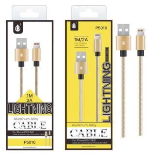 Cable de dato Merga Metalico para Iphone5/6/7 Oro, 2A, 1M
