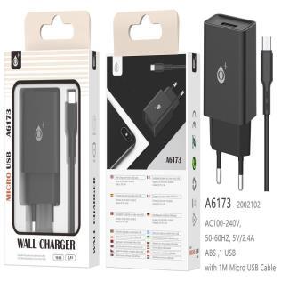Cargador de Red S.Basic Wilson 1 USB con cable Micro USB , 2.4A , Negro