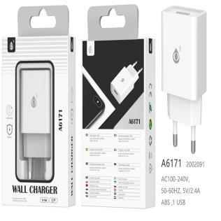 Cargador de Red S.Basic Wilson 1 USB sin cable , 2.4A, Blanco