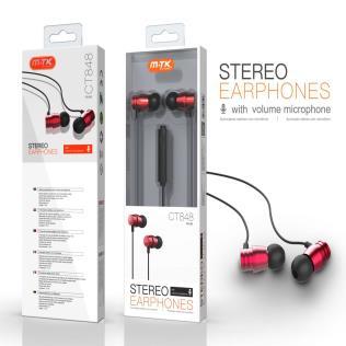 Auriculares Metal con Microfono Metis, con Boton multifuciones y Control de Volumen, cable 1.2M ,Rojo