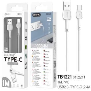 Cable de Datos M.Karron para Type C, 2,4A 1M, Blanco