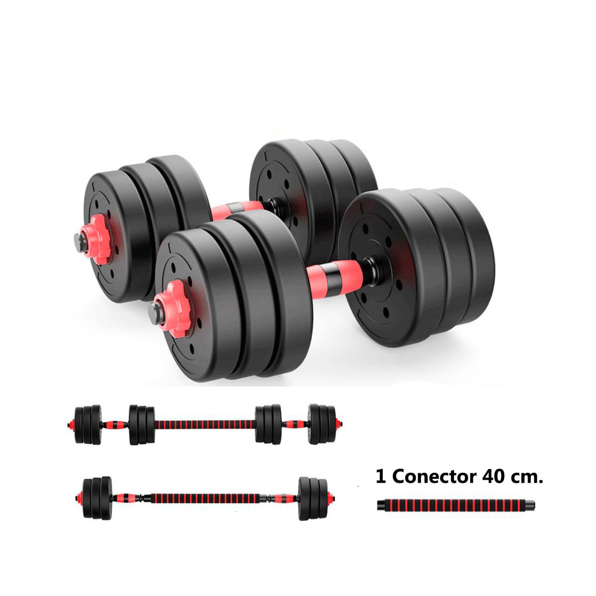miniatura 17 - Juego de Mancuernas 2 en 1 con Barra Ajustable de 10 a 50 kg