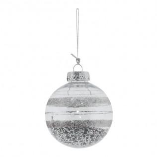 Bola navidad transparente deko plata 8 cm