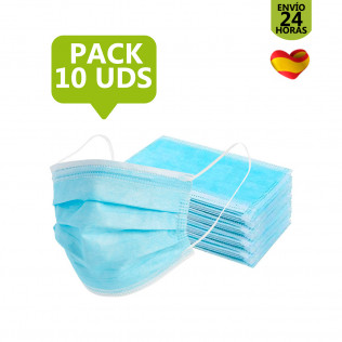 Pack Mascarilla higiénica de 3 capas | 10 uds
