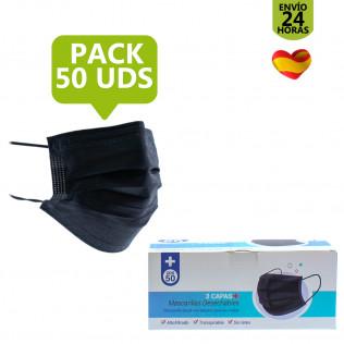 Pack Mascarilla higiénica de 3 capas Negras