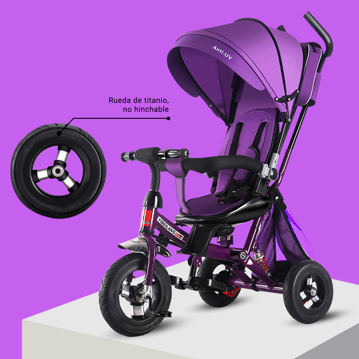 miniatura 57 - Triciclo-con-Capota-para-Ninos-Transformable-Pacifier