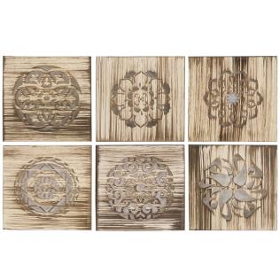 Cuadro 40x40 mandala madera - 6 srt