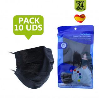 Pack Mascarilla higiénica de 3 capas | Negro