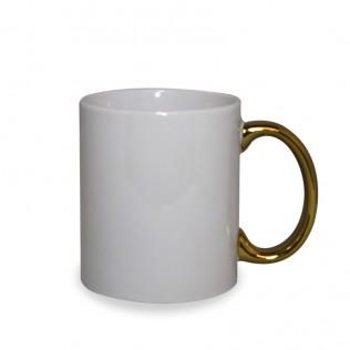 Taza blanca con asa cromada oro sublimación