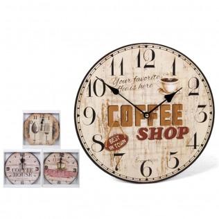 RELOJ DE PARED COFFEE 34 CM SURTIDO
