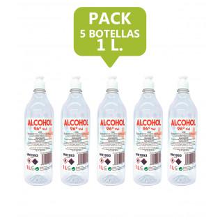 Alcohol etílico de 96º desinfectante y antiséptico - 5 botellas de 1 l.