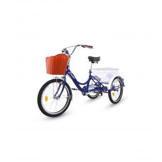Triciclo para adultos con 2 cestas, 6 velocidades, asiento y manillar ajustable Azul oscuro