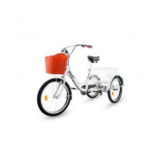 Triciclo para adultos con 2 cestas, 6 velocidades, asiento y manillar ajustable Blanco