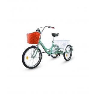 Triciclo para adultos con 2 cestas, 6 velocidades, asiento y manillar ajustable Turquesa