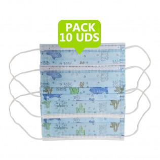 MASCARILLA 3 CAPAS INFANTIL DECORADAS | PACK 10 UDS