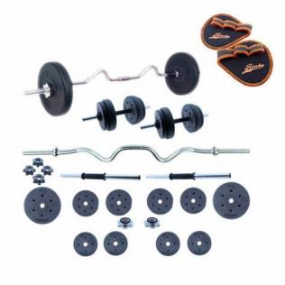 Juego de pesas 30 kg con barra Z y mancuernas Set de musculación