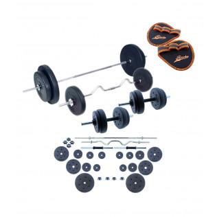 Juego de pesas 90 KG con barras y mancuernas Set de musculación
