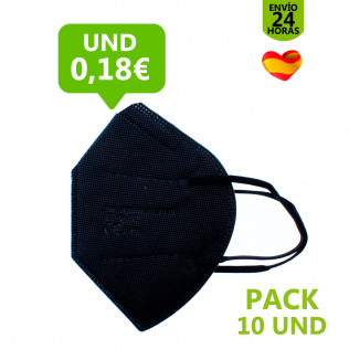 MASCARILLA FFP2 NEGRA OUT - PACK 10 UNDS.